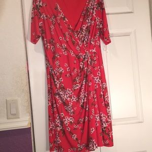 Coral Floral Plus Size Dress